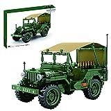 XIAN Modelo de coche de bloque de construcción, WW2 Camioneta Militar Camión Coche Tire hacia atrás Kit de construcción de vehículos militares,