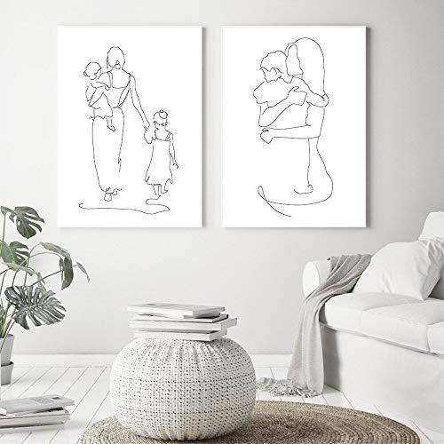 SAIDE Línea Abstracta Arte Lienzo Cartel Madre Hija Hijo Mural impresión Minimalista Cartel nórdico Imagen decoración del hogar 50X70cm sin Marco