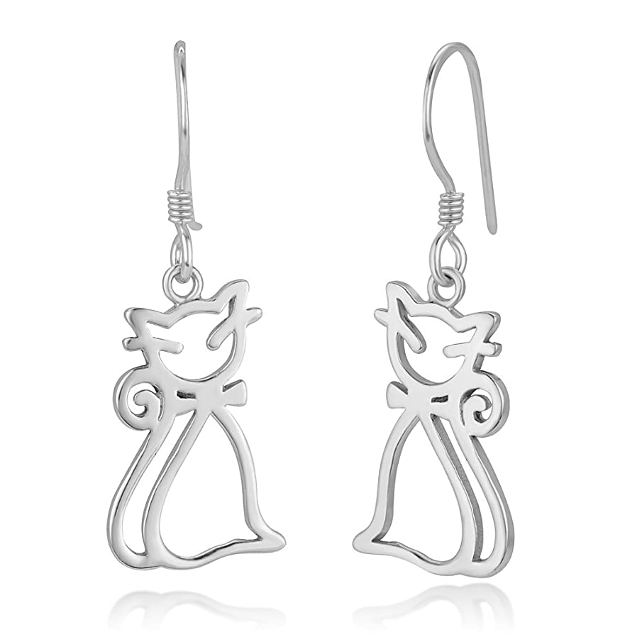 925 Sterling Silver Adorable Kitty Cat Kitten Pet Lover Cut Open Dangle Hook Earrings 1.25