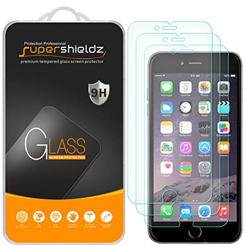 (3 Pack) Supershieldz for iPhone 6S Plus and iPhone iPhone 6 Plus Tempered Glass Screen Protector Anti Scratch, Bubble Free