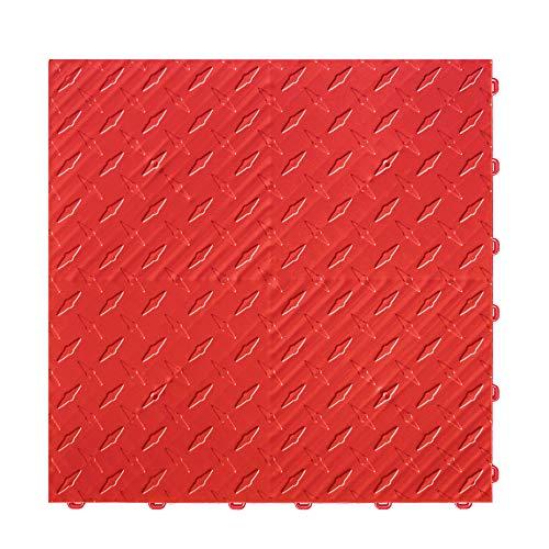 "Craftsman Interlocking Diamond Garage Flooring 15.75"" x 15.75"" x 0.65 Tiles (Red, 6 Pack)"