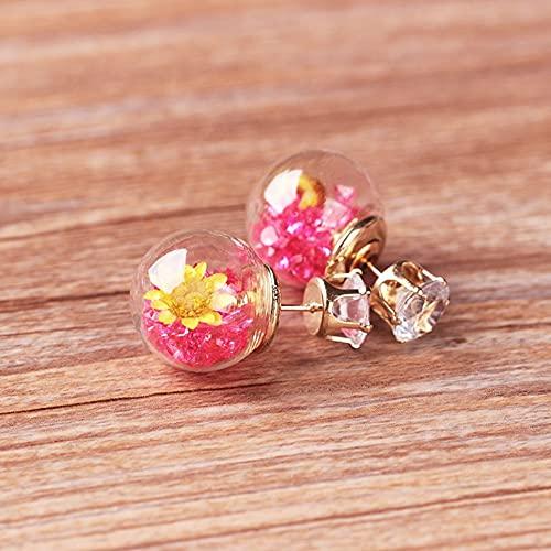 WEFH Pendientes de botón de Flor Seca de Bola de Cristal Pendientes de Tendencia de Moda Accesorios de joyería, Rosa roja