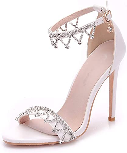 Chaussures de mariage Sandales à talons talons hauts pour femmes Chaussure à talons hauts pour femmes Stiletto Sandals - Bouche de poisson en strass - Chaussures de mariage (35-41 Blanc) sandales talons haut  sortie en vente