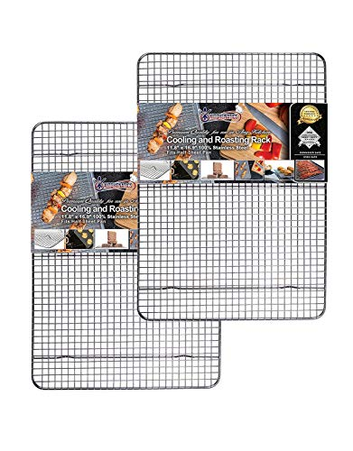 "KITCHENATICS Half Sheet 100% Stainless Steel Roasting and Cooling Rack, 1/2 Sheet Rust Proof Rack with Multiple Welds, Thick Wire Grid, Use for Oven and Grill, Non-Toxic, 11.8' x 16.9' x 1"", Set Of 2"