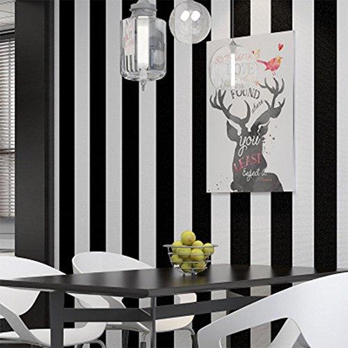 Schwarz und Weiß Streifen Vliestapete für Wohnzimmer, Schlafzimmer, Studie, Store Restaurant Decor , nicht selbstklebend Tapete, 0,53* 10m