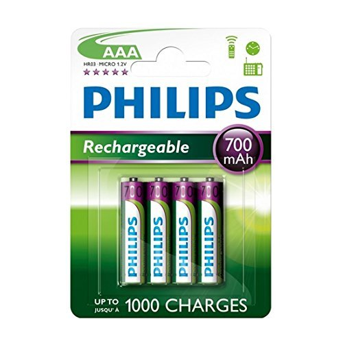 Philips Lot de 4 piles rechargeables AAA 700 mAh pour BT 1000/1500/2000/2500/4000/4500