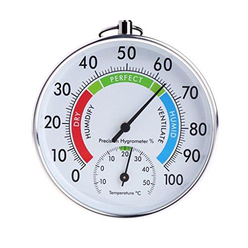PINH-lang Thermo-Hygrometer,Temperatur und Luftfeuchtigkeit Analoge Anzeige Innen-Außen-Thermometer Hygrometer