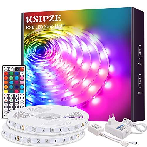 KSIPZE LED strip 20m RGB Farbwechsel LED Lichterkette LED Band Stripes Mit 44 Tasten Fernbedienung und Netzteil LED Streifen für die Beleuchtung von Schrank,Haus Deko, Bar, Küche, Party