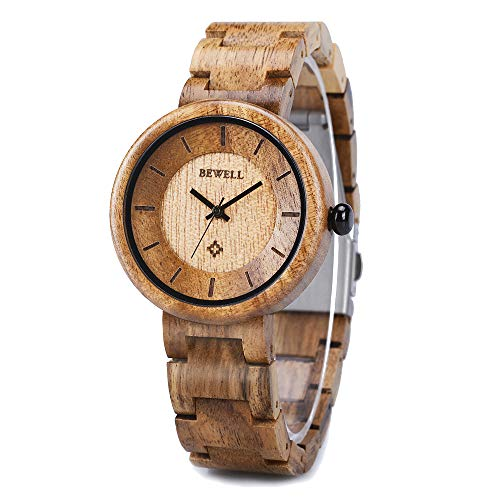 Wood Watches for Women, BEWELL Wooden Handmade Watch with Lightweight Adjustable Wood Band, Natural Casual Fashion Quartz Wristwatch