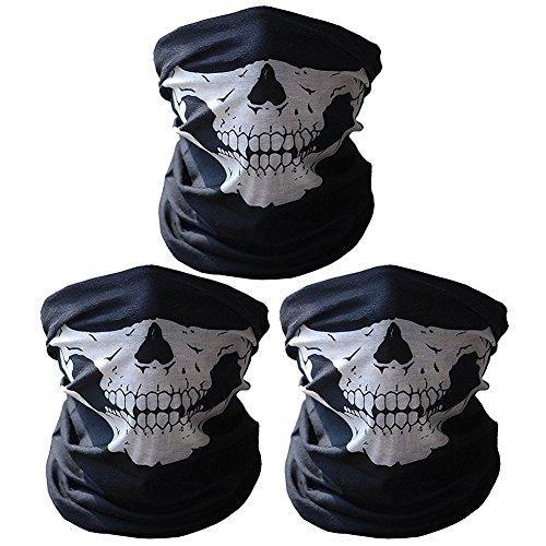 Super Things 3X Premium Multifunktionstuch | Sturmmaske | Bandana | Schlauchtuch | Halstuch mit Totenkopf- Skelettmasken für Motorrad Fahrrad Ski Paintball Gamer Karneval Kostüm Skull Maske …(3 Weiß)