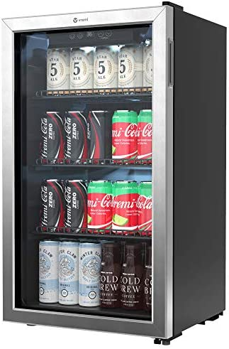 Vremi Beverage Refrigerator and Cooler 100 to 120 Can Mini Fridge with Glass Door for Soda Beer product image