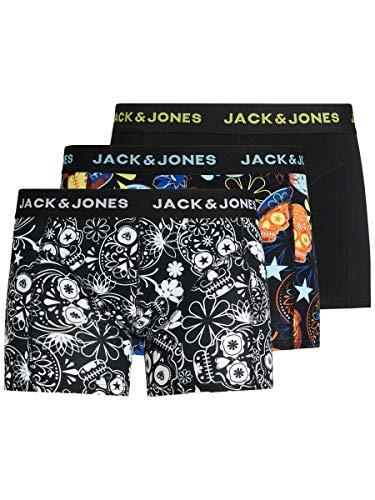 JACK & JONES JACJAMES Trunks 3 Pack Noos Caleçon Boxeur, Noir/détails : Noir – Jaune Vif, L Homme
