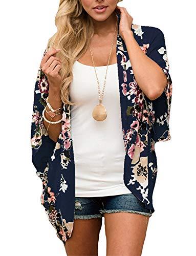 Women Floral Kimono Cardigans Summer Chiffon Boho Beach Tops Shirts Casual Open Front Cover Ups Deep Blue S