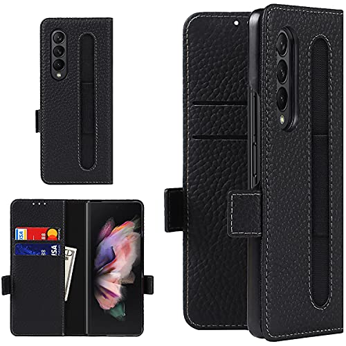 Samsung Galaxy Z Fold 3 5G Case,Galaxy Z Fold 3 Case with S Pen Holder,Galaxy Z Fold 3 Leather Wallet Case with Credit Card Holder for Samsung Galaxy ZFold3 5G (Black)