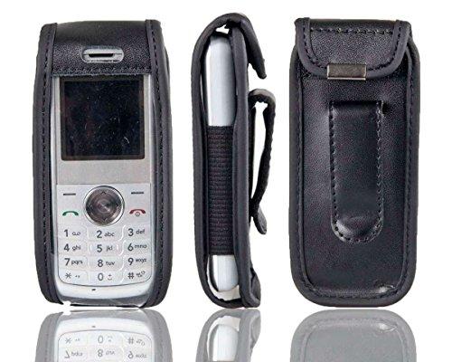 caseroxx Handy-Tasche für LG KP100 aus Echtleder, Handy-Hülle mit Sichtfenster aus schmutzabweisender Klarsichtfolie & Clip