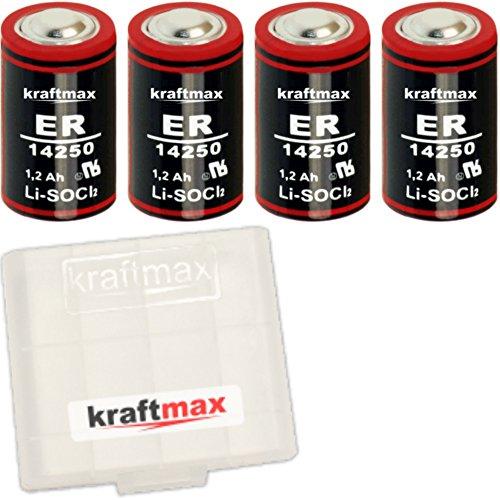 4X Kraftmax LS 14250-1/2 AA/Mignon - Lithium 3,6V Batterie LS14250 / Li-SOCl2 Hochleistungs- Batterien mit extrem hoher Energiedichte - in Batteriebox
