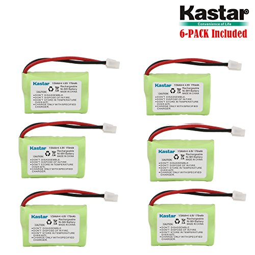 Kastar 6-Pack 4.8V 170mAh Ni-MH Rechargeable Battery for SportDog FR200, SD-400, SD-800, PetSafe Yard & Park Remote Dog Trainer, PDT00-12470 RFA-417 PAC00-12159 FR-200P Collar Receiver Plus Coaster
