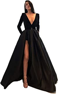 Black Dresses for Women, Evening Dress Long Black Dresses for Women, V-Neck Satin Long Sleeves Dubai Arabia Black Womens Dress for Party Christmas Costumes Sexy Dress Christmas Costume Ball Gown