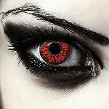 "Designlenses, Dos lentillas de color rojo para Halloween monstruo disfraz lentes sin dioprtías/corregir + gratis caso de lente ""Red Fear'"