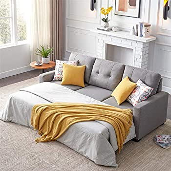 """Sectional Sofa Couch Sleeper Pull Out Sofa Bed with Storage Convertible L-Shape Sofa 3 Seat Both Left and Right Handed for Apartment Living Room 82"""" Pillows not Included  Gray"""