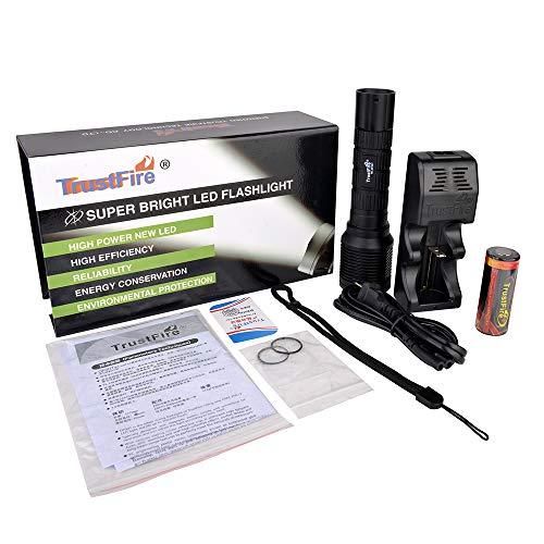 TrustFire DF007 KIT Tauchen Taschenlampe Unterwasser Lampe 800 Lumen mit CREE XM-L2 LED und Wasserdicht bis 100 Meter - 1 X 26650 Akku und 1 X Ladegerät mit EU Stecker enthalten