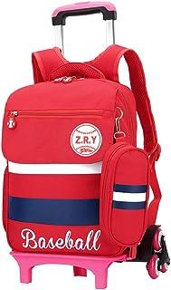 ZEVONDA Impermeable Nylon Mochila Trolley Extraíble Mochilas Con Ruedas Bolsas de Viaje Equipaje Para Niños Niños Niñas Estudiantes de Escuela Primaria, Rojo