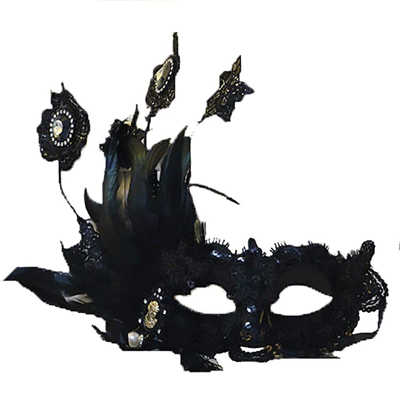 調整可能謙虚な同種のNanle Halloween Ornate Blackコロンビーナフェザーマスク