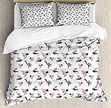 Juego de Funda nórdica Japonesa, Origami Estilo geométrico pájaro colibrí grulla gorrión, Juego de Cama Decorativo de 3 Piezas con 2 Fundas de Almohada, Rosa Verde Gris carbón