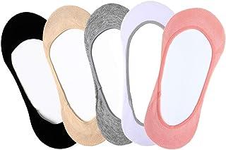 5 pares de calcetines invisibles para mujer, de corte bajo, antideslizantes, para zapatos de barco, zapatillas y mocasines