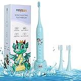 Cepde dientes eléctricos para niños, cepillos de dientes para niños con 3 cabezas de cepde dientes, cepillo de dientes para niños y niñas 3+(blue)