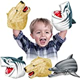Geyiie Shark Hand Puppets, Kids Hand Puppets Toys Realistic Shark Dolphin Sea Bear Head Soft Rubber Latex Puppets Toys, Animal Role Play Toy Gift for Boys Girls Toddlers Adults 3 Pack