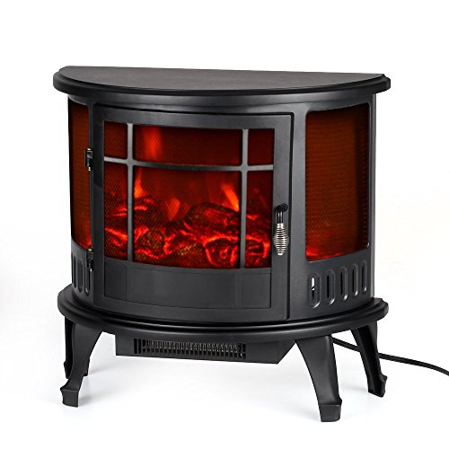 Electric Stove Fireplace Heater Free-Standing Fire Flame Adjustment Temperature Control, 23' L x 11' W x 22' H, 1500W