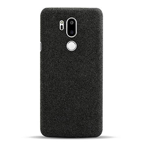 Suhctup Hülle Kompatibel mit LG G8 / G8 Thimq, Stylisch Elegant Stoff Cover Handyhülle - R&umschutz, Ultra Dünn Anti-Fingerabdruck Anti-Scratch Stoffmuster Schutzhüll Tasche, LG G8 - Schwarz