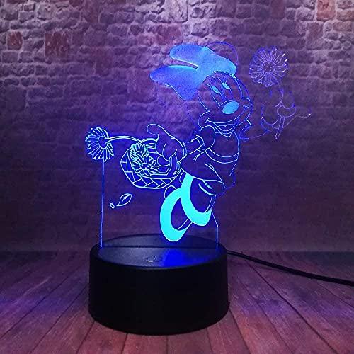 tyehhhdzh 3D led light night light animation Mickey Mouse 7 cambio de color USB lámpara de escritorio decoración del hogar mejor regalo para niños-7 control remoto de color