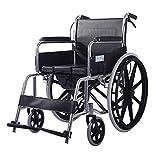 OLDHF Silla de Ruedas de Aluminio Plegable,autopropulsable,Marco liviano y Plegable, para usuarios Mayores,discapacitados y discapacitados, Silla de Viaje de tránsito portátil,reposapiés extraíbles