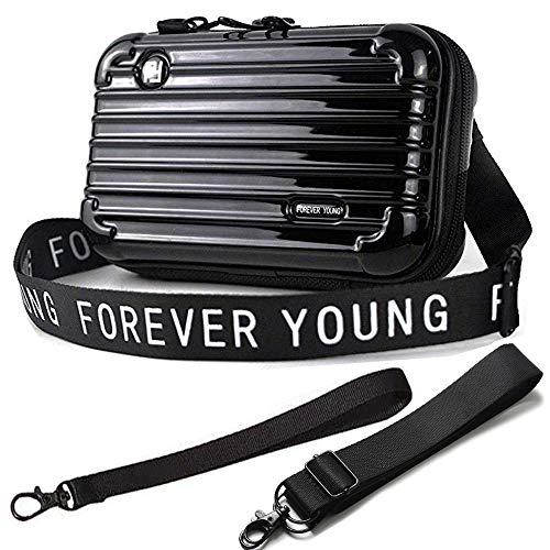 Handy Umhängetasche - Mode Damen Schultertasche Klein Geldbörse Crossbody Handtasche - Hart ABS+pc Kofferform mit Verstellbar Abnehmbar Schultergurt für Handy unter 7.5 Zoll (Schwarz)