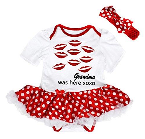 Petitebella Red Lips Grandma was Here XOXO Baby Dress Nb-18m (White/Red Dots, 0-3 Months)