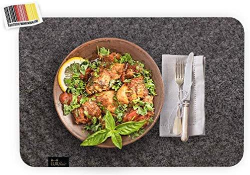 Luxflair Edle Filz Platzmatten für 4 Personen, Dunkelgrau XXL Tischset 30x45cm, waschbar. Moderne Designer Tischmatten, Tischunterlagen-Set