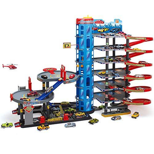 Parkgarage Parktower Spielzeug Kinder Autogarage Parkhaus Garage incl. 6 Spielzeugautos und Hubschrauber Spiel-SET mit Tankstelle, Fahrstuhl, Waschstraße, Werkstatt etc