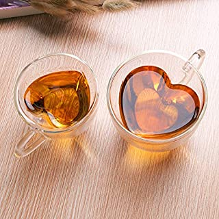 PUGLIFE Heart Shaped Double Walled Insulated Glass Coffee Mugs or Tea Cups, Double Wall Glass 10 oz - Clear, Unique & Insu...