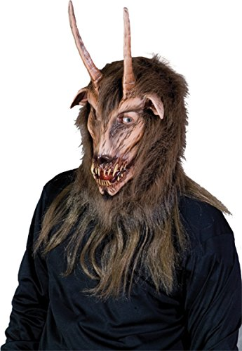 Krampus Ziege Kopf Maske Einheitsgroesse Erwachsene Halloween Kostueme Maske Gesicht Maske Over-the-Head-Maske Kostuem Stuetze Scary Creepy Schreckliche Maske Latex Maske fuer Maskerade Make-up Party