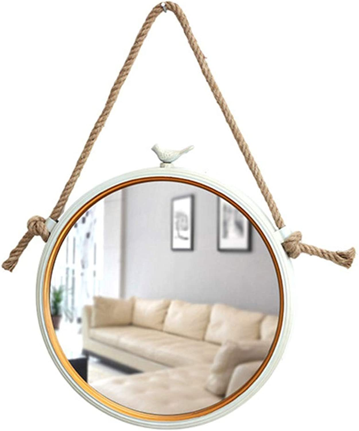 LH-Mirror Nordic Hanging Mirror with Hemp Rope Modern Decorative Wall Mirror   Bathroom Mirror   Wall Mounted Vanity Makeup and Shaving Mirror   White Metal Frame (Size   Diameter 35cm)