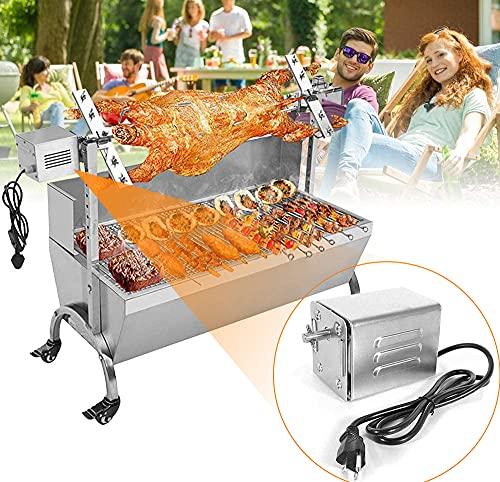 TTLIFE Motore per Barbecue Portatile 70KG Griglia per Barbecue in Acciaio Inox Girarrosto 220V Motore Forno Motore Accessori per Barbecue all'aperto Capra Maiale Pollo Barbecue