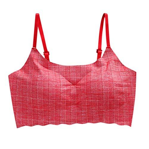 Keepmove Women's Striped Wire Free Bra Beauty Back Tube Everyday Comfort Underwear(Red,L)