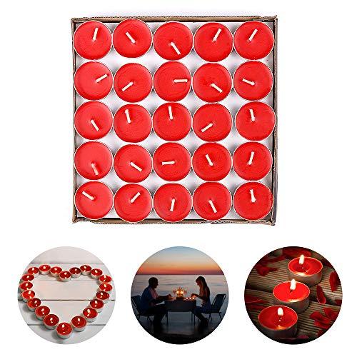 ASANMU Romantische Rote Kerzen, Runde Romantische Teelichter 50 Pack Rauchfreie Teelicht Liebe Kerzen für Geburtstag, Vorschlag, Hochzeit, Party, Verlobung Tischdekoration, Valentinstag Deko (Rot)