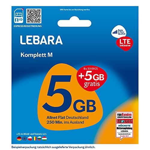 Lebara Mobile Pre-Paid SIM-Karte Komplett M ohne Vertrag   Allnet Flat, 5+5 GB Datenvolumen inkl. LTE in D-Netz Qualität und 250 Frei-Min. ins Ausland