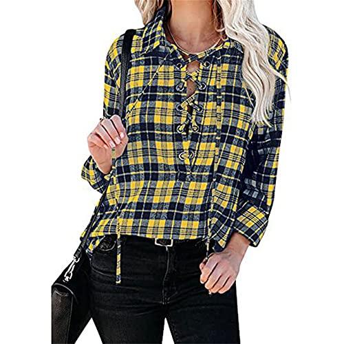 Mujeres vendaje Blusas Vintage Plaid Loose Slim Fit manga larga Deep V solapa Pullover E Niñas 90s Y2K Casual Streetwear, amarillo, S