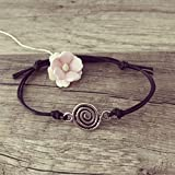 Spirale Armband in Schwarz Silber Größenverstellbar, Geometrie/diamond/vintage/ethno/hippie/must have/statement/florabella schmuck/Spriale