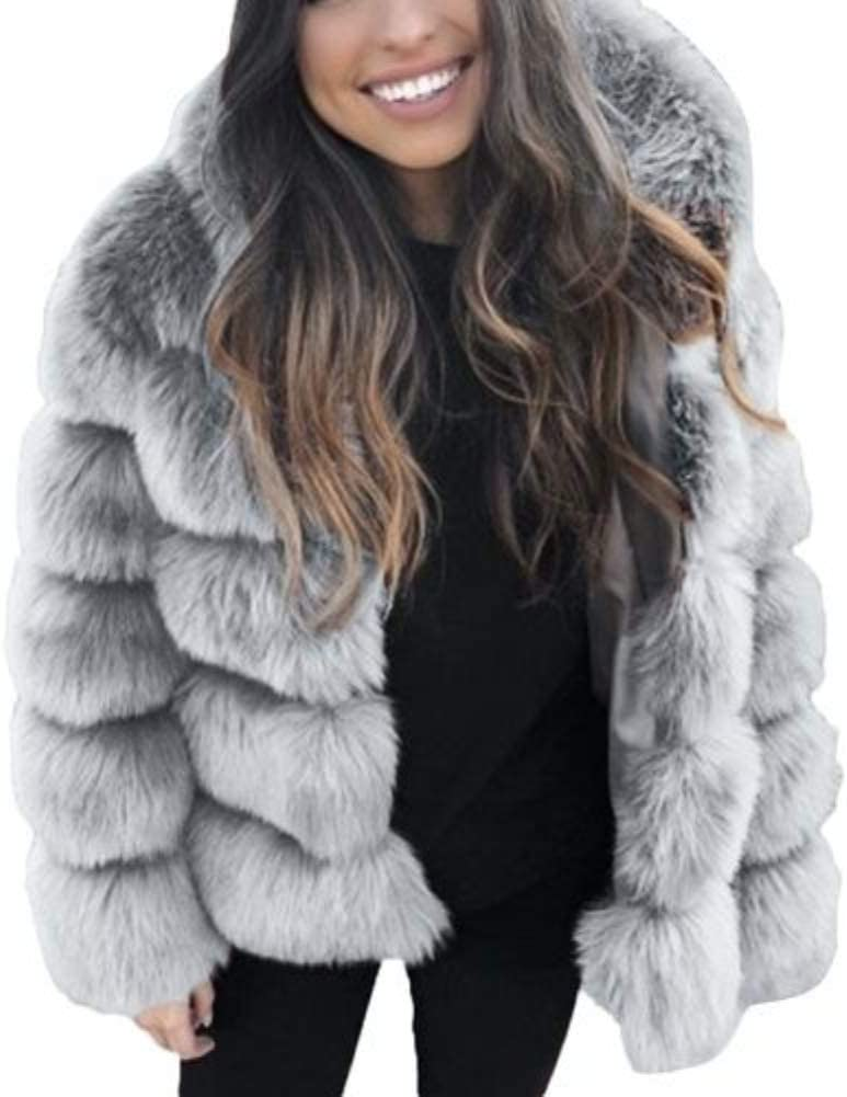 dSNAPoutof Women Thicken Faux Fur Coat, Warm Fluffy Hooded Long Sleeve Imitation Rabbit Hair Jacket Outerwear Jacket for Girls Party Travel Outdoor Shopping Street Wear Light Gray M