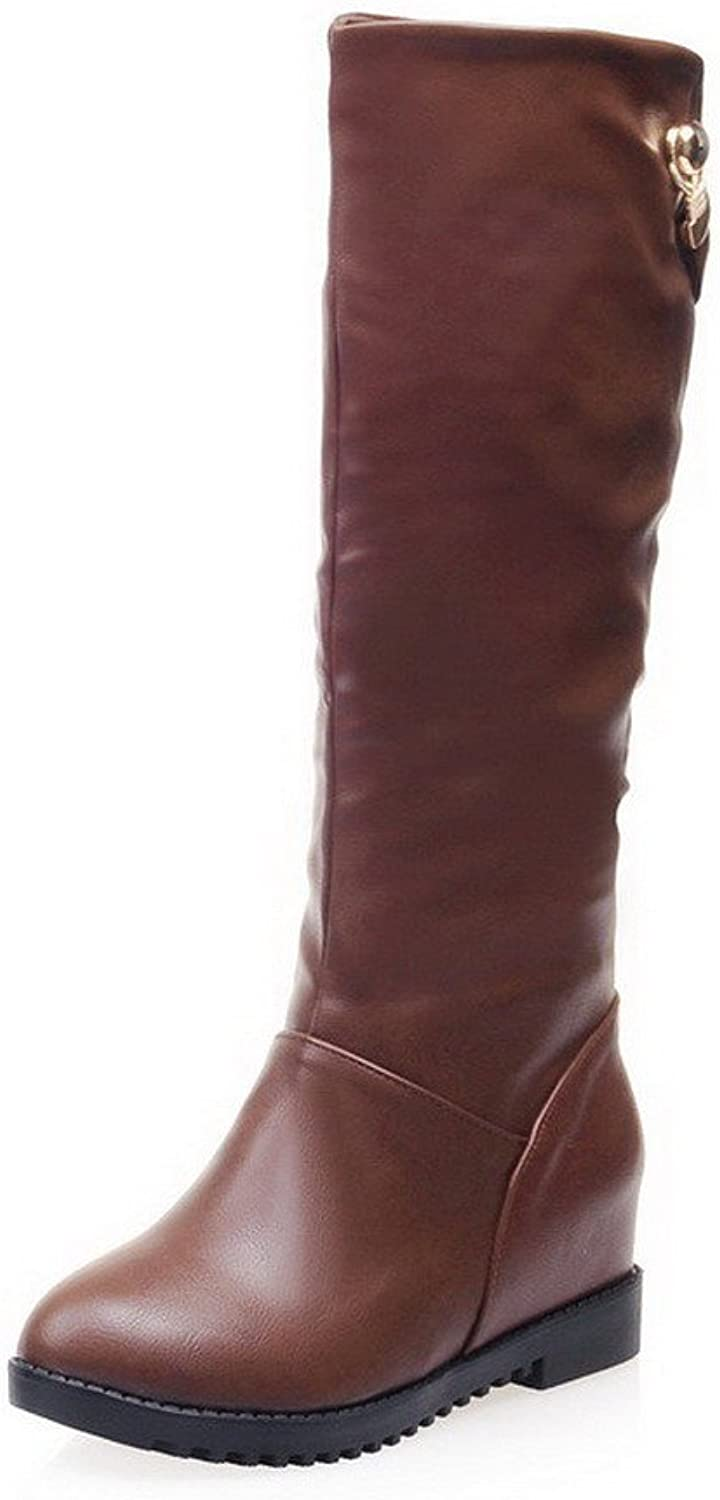 WeenFashion Women's Solid Closed Round Toe Blend Materials PU Mid-calf Boots